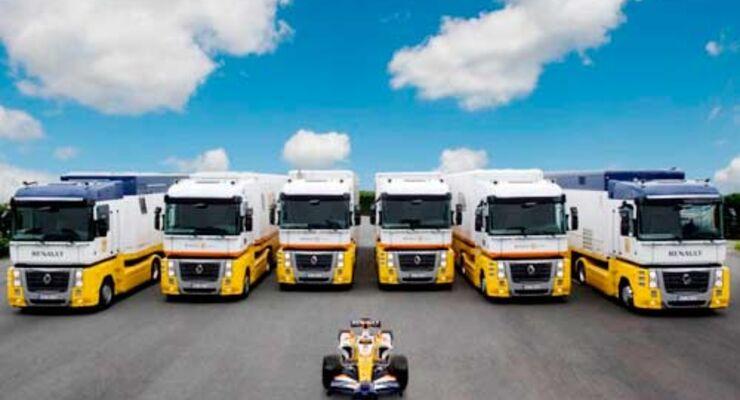 16 Renault-Trucks unterstüzen das Formel 1-Team logistisch