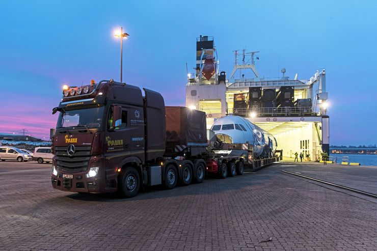Airbus Transport Paule A320 Schwertransport FF 4/2019 Spezialtransport Konvoi Autobahn