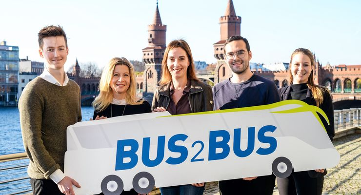 BUS2BUS 2019 - Media Preview 2018 - Björn Fedder, Chief of Staff to CEO at Wunder Mobility; Kerstin Kube-Erkens, Senior Produktmanagerin, Messe Berlin; Christiane Leonard, Hauptgeschäftsführerin, Bundesverband Deutscher Omnibusunternehmer; Pascal Blum, Gründer, unu; Johanna Schelle, MotionTag, Communications & Business Development (v.l.n.r.)