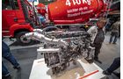 Der leichte Motor D15 in Kombination mit leichten Hypoid-Achsen ergeben einen leichten Transportmischer mit 8,95 Tonnen Basisgewicht.
