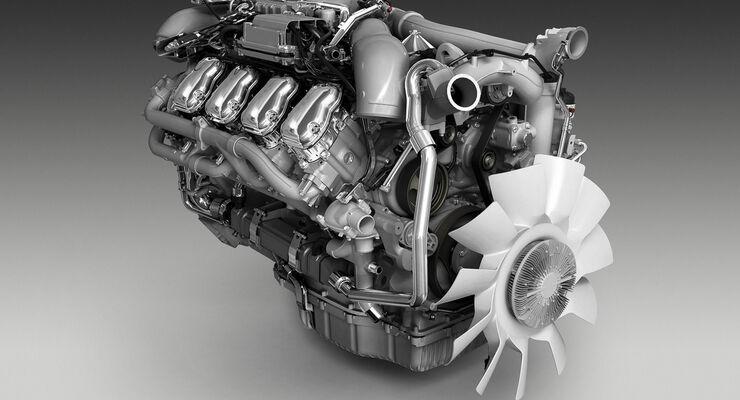 Die V8-Motoren für Euro 6 arbeiten mit wassergekühlter Abgasrückführung.