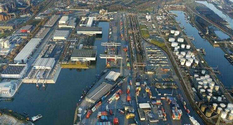Duisburger Hafen, 2011, Luftaufnahme, Duisport