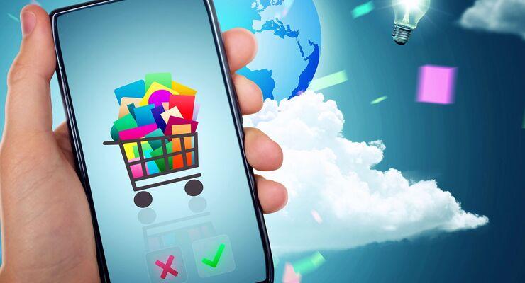 Einkauf, Online. E-Commerce