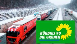 Eis, Eisplatten, Autobahn, Grüne, Grüne/Bündnis90