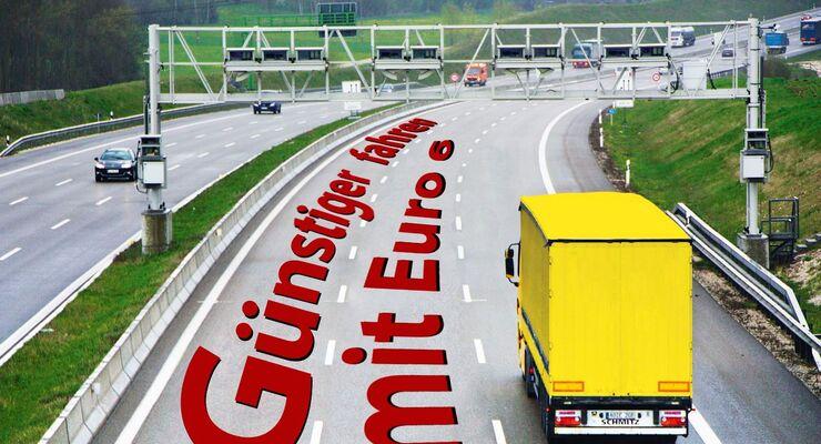 Euro 6, günstiger, Autobahn, Mautbrücke