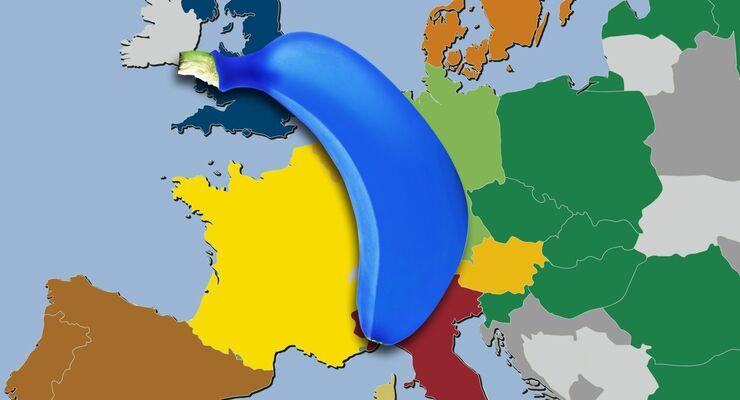 Europa-Karte, blaue Banane