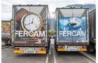 Fercam Trucks mit Uhr und Hai auf Rückseite