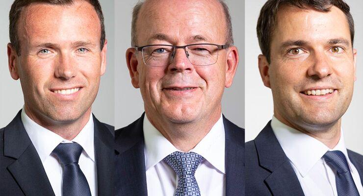 Gregor Schnell (links), Alexander Tesch (rechts), Roland Futterer (Mitte), Grieshaber Logistik