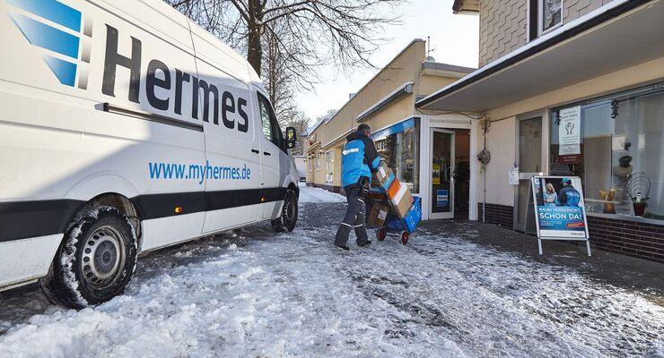 Hermes, Paketshop, Winter, Zustellung