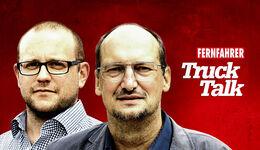 Jan Bergrath und Götz Bopp mit dem Truck-Talk-Schriftzug