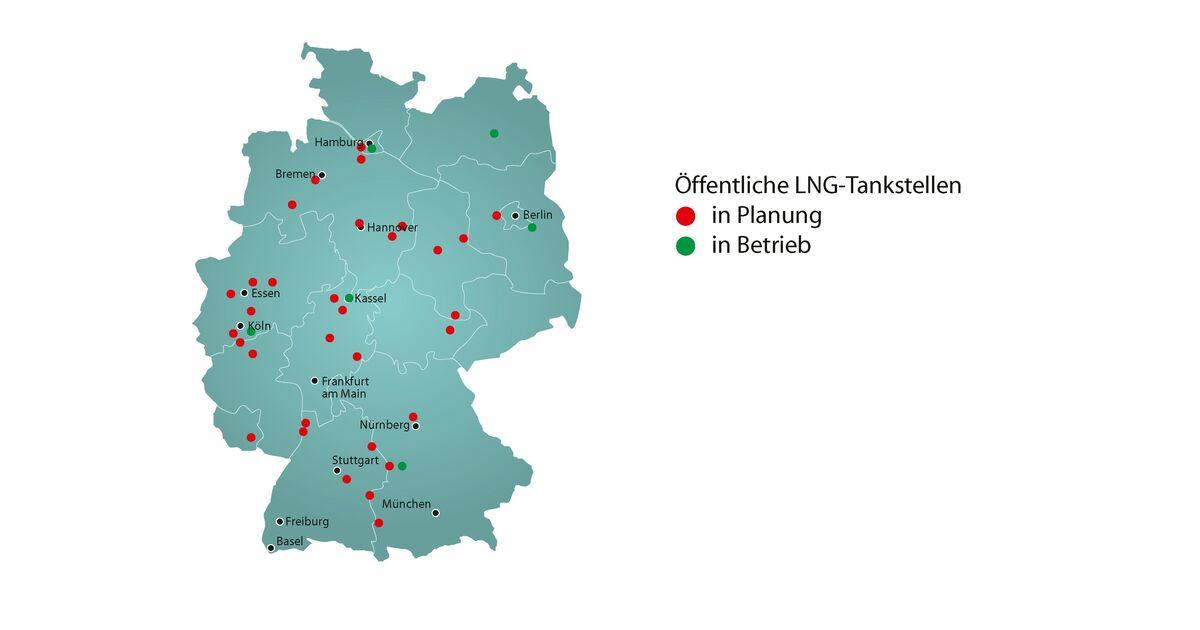 erdgas karte deutschland LNG Tankstellen: Deutschlandkarte von Dena zeigt Standorte