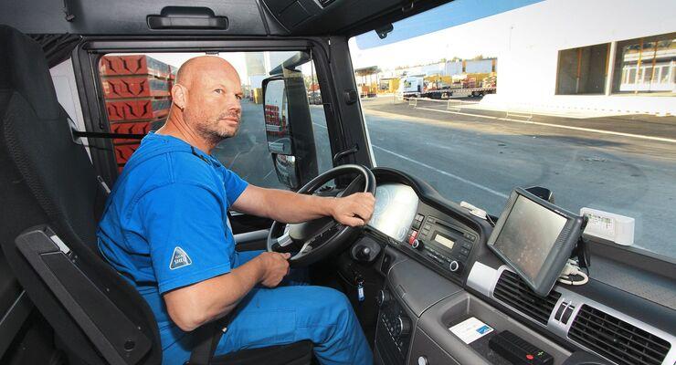 Lkw, Fahrer, Cockpit, Lenkrad