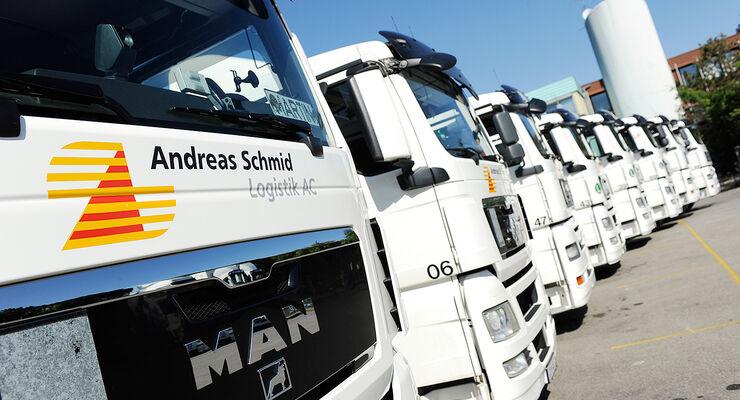 Lkw-Flotte von Andreas Schmid Logistik in Gersthofen.
