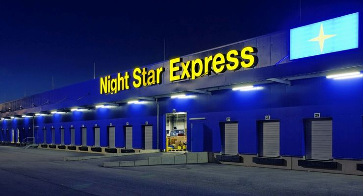 Night Star Express, Lager, Halle, Nacht
