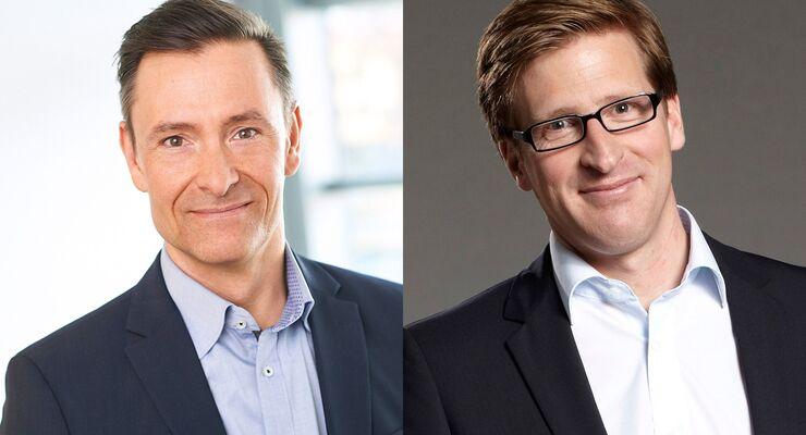 Olaf Schabirosky (linkes Bild) ist der neue CEO von Hermes Germany. Seine bisherigen Aufgaben als Geschäftsführer Services und Finanzen übernimmt ab Juli Hendrik Schneider.