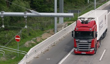 e-Highway, E-Lkw, Oberleitungs-Hybrid-Lkw, OH-Lkw, Oberleitung, Entega